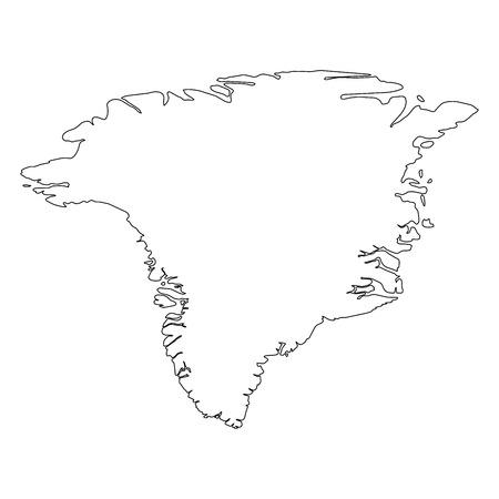 Grönland - einfarbige schwarze Umriss-Grenzkarte des Landesgebiets. Einfache flache Vektorillustration.