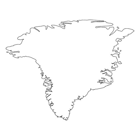 Greenland - solid black outline border map of country area. Simple flat vector illustration. Vettoriali