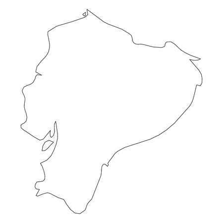 Ecuador - solid black outline border map of country area. Simple flat vector illustration. 矢量图像
