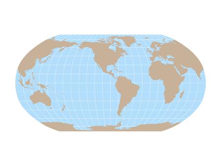 Mapa del mundo en proyección Robinson con cuadrícula de meridianos y paralelos. Centrado en América. Tierra marrón y mar azul. Ilustración vectorial. Ilustración de vector