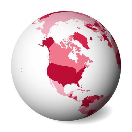 Blank political map of North America. 3D Earth globe with pink map. Vector illustration. Zdjęcie Seryjne - 115746875