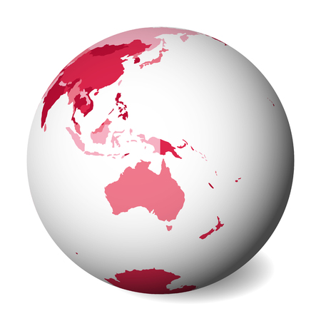 Blank political map of Australia. 3D Earth globe with pink map. Vector illustration.