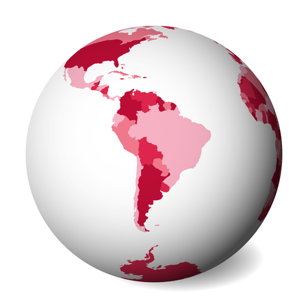 Blank political map of South America. 3D Earth globe with pink map. Vector illustration. Zdjęcie Seryjne - 115746878
