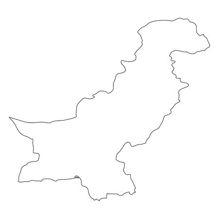 Pakistan - solid black outline border map of country area. Simple flat vector illustration.