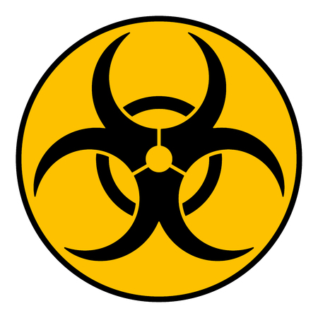 Biohazard caution sign. Symbol of hazard caused by biological microorganism, virus or toxin. Simple flat black vector illustration on yellow background.