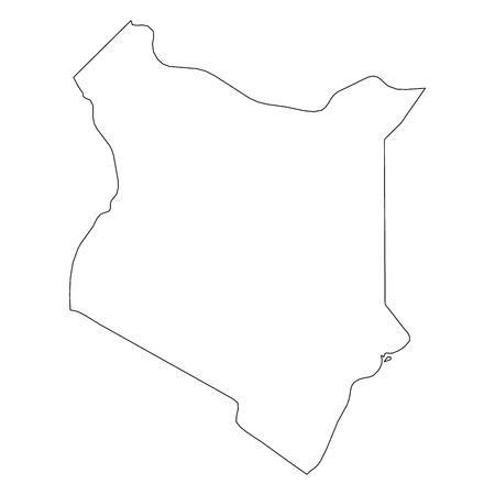 Kenya - mappa del confine con contorno nero solido dell'area del paese. Semplice illustrazione vettoriale piatto.
