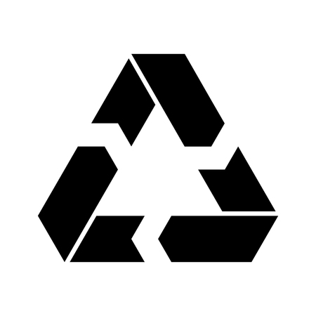 Recycling symbol. Environmental or ecological symbol. Simple flat vector icon. Black sign. Vettoriali