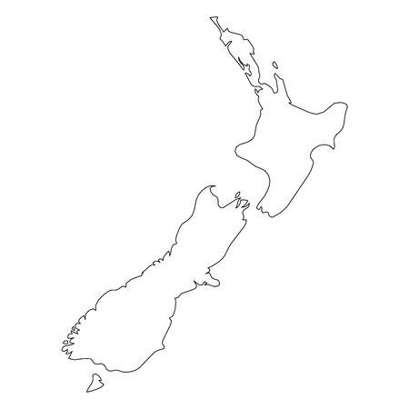 New Zealand - solid black outline border map of country area. Simple flat vector illustration. Ilustracja