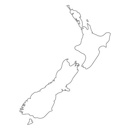 Nueva Zelanda - mapa de borde de contorno negro sólido del área del país. Ilustración de vector plano simple. Ilustración de vector