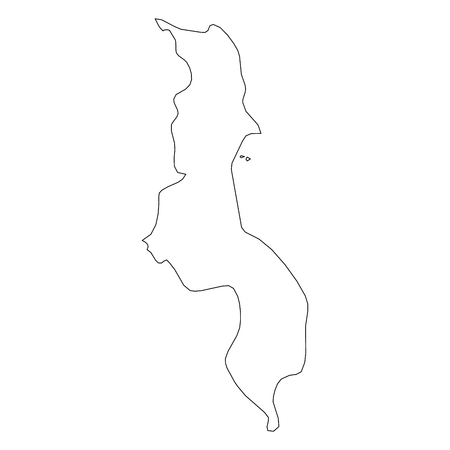 Malawi - solid black outline border map of country area. Simple flat vector illustration.