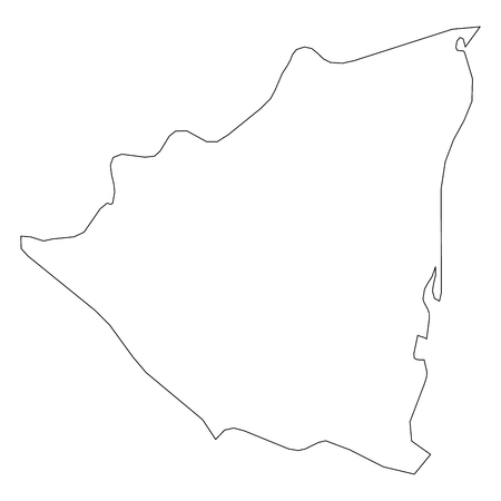 Nicaragua - solid black outline border map of country area. Simple flat vector illustration.