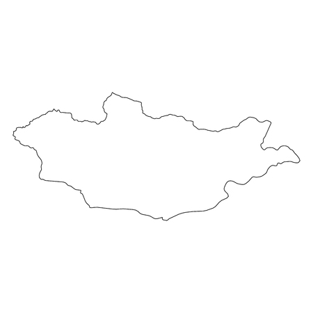 Mongolia - solid black outline border map of country area. Simple flat vector illustration.