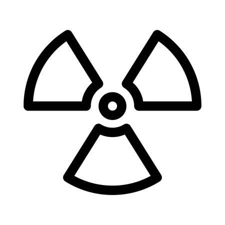 Radioactive material sign. Symbol of radiation alert, hazard or risk. Simple flat vector illustration in black and white.