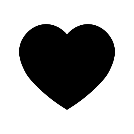 Heart icon. Symbol of love and Saint Valentines Day. Simple flat black vector shape.