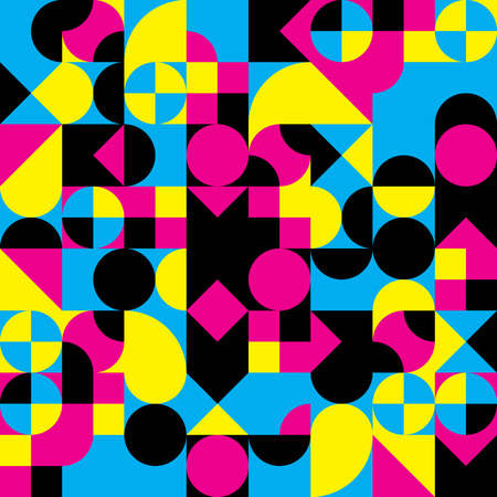 Abstract geometric retro design. Vector seamless pattern in CMYK colors.