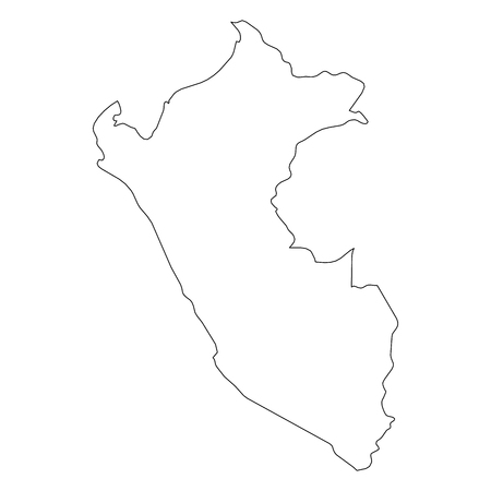 Peru - solid black outline border map of country area. Simple flat vector illustration.