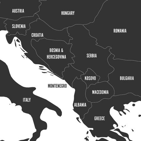 Political map of Balkans - States of Balkan Peninsula in grey. Vector illustration. Illustration