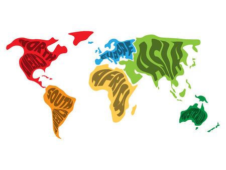World map divided into six continents. Name of each continent wrapped in. Simplified vector illustration.