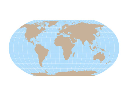 World Map in Robinson Projection with meridians and parallels grid. Brown land and blue sea. Vector illustration. Ilustração Vetorial