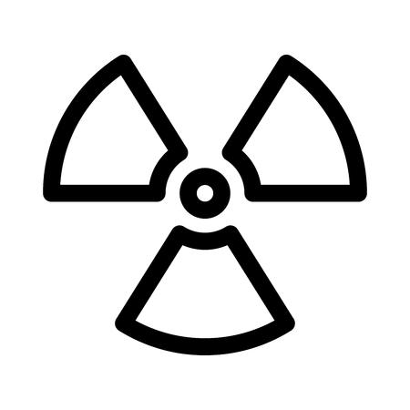 Signo de material radiactivo. Símbolo de alerta, peligro o riesgo de radiación. Ilustración de vector plano simple en blanco y negro.