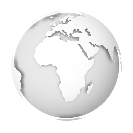 Earth globe. 3D world map with white lands dropping shadows on light grey seas and oceans. Vector illustration.