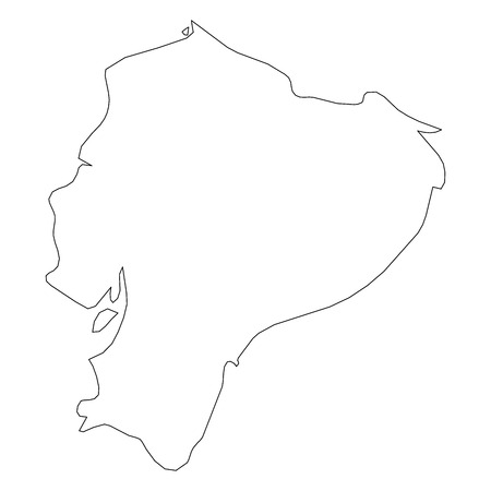 Ecuador - solid black outline border map of country area. Simple flat vector illustration. Ilustração