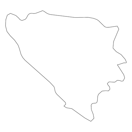 Bosnia and Herzegovina - solid black outline border map of country area. Simple flat vector illustration.