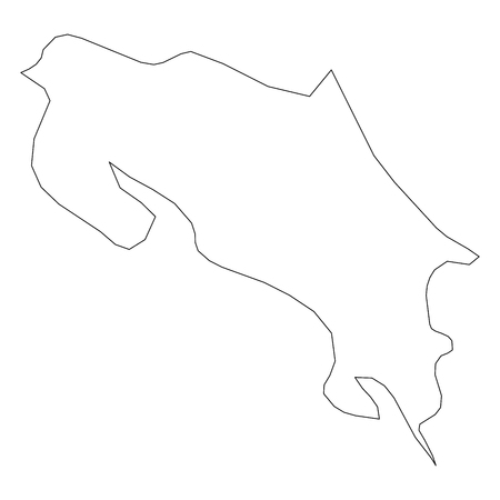 Costa Rica - solid black outline border map of country area. Simple flat vector illustration.