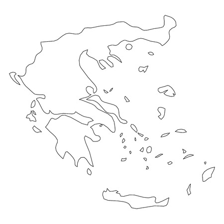 Greece - solid black outline border map of country area. Simple flat vector illustration. Reklamní fotografie