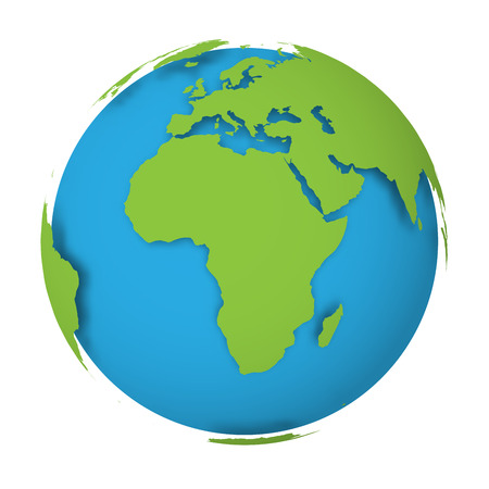 Natural Earth globe. 3D world map with green lands dropping shadows on blue seas and oceans. Vector illustration.