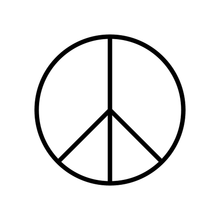 Peace symbol. Simple flat vector icon. Black sign on white backround.
