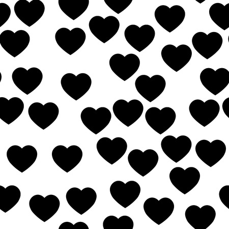 Black heart silhouettes seamless pattern. Random scattered hearts background. Love or Valentine theme. Vector illustration. Vettoriali