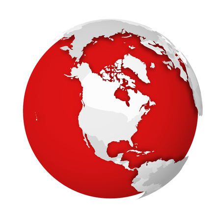Globo terráqueo 3D con mapa político en blanco dejando caer la sombra sobre los mares y océanos rojos. Ilustración de vector.