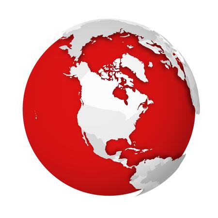 Globo terrestre 3D con mappa politica vuota che cade ombra sui mari rossi e sugli oceani. Illustrazione vettoriale.