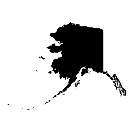 Alaska, state of USA - solid black silhouette map of country area. Simple flat vector illustration.