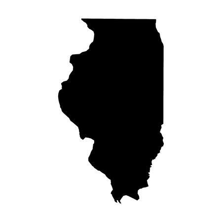 Illinois, state of USA - solid black silhouette map of country area. Simple flat vector illustration.
