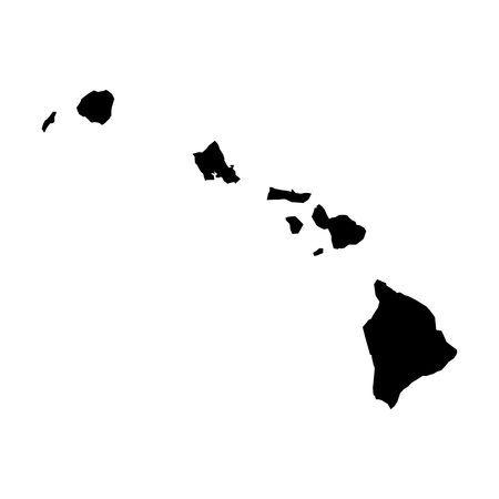 Hawaii, state of USA - solid black silhouette map of country area. Simple flat vector illustration. 向量圖像
