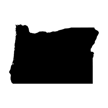 Oregon, state of USA - solid black silhouette map of country area. Simple flat vector illustration. 向量圖像