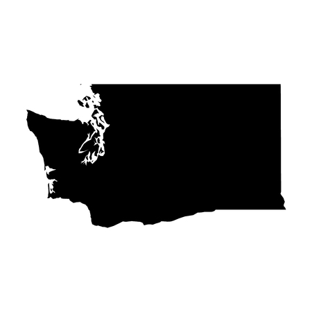 Washington, state of USA - solid black silhouette map of country area. Simple flat vector illustration.