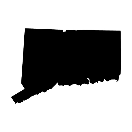 Connecticut, state of USA - solid black silhouette map of country area. Simple flat vector illustration. Ilustração