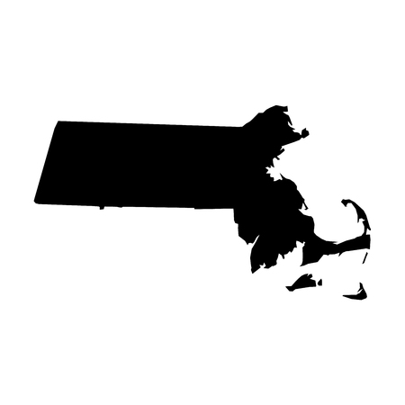 Massachusetts, state of USA - solid black silhouette map of country area. Simple flat vector illustration.