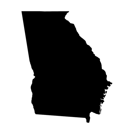 Georgia, state of USA - solid black silhouette map of country area. Simple flat vector illustration. Çizim