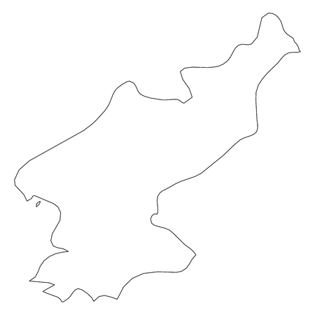North Korea, Democratic Peoples Republic of Korea, DPRK - solid black outline border map of country area. Simple flat vector illustration.