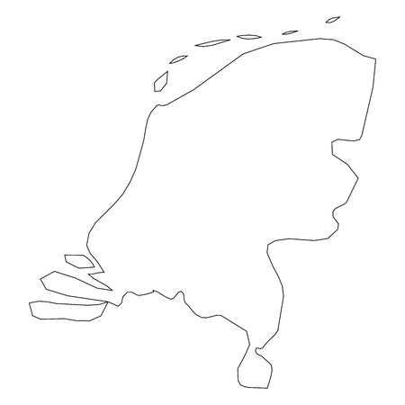 Netherlands, Holland - solid black outline border map of country area. Simple flat vector illustration. Banque d'images - 125811434