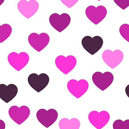Reticolo senza giunte dei cuori rosa. Sfondo di cuori sparsi casuali. Amore o tema di San Valentino. Illustrazione vettoriale. Vettoriali