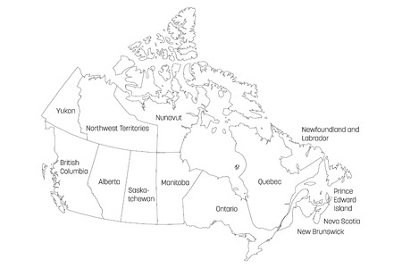 Map of Canada divided into 10 provinces and 3 territories. Administrative regions of Canada. White map with black outline and black region name labels. Vector illustration.
