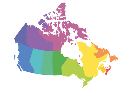 Map of Canada divided into 10 provinces and 3 territories. Administrative regions of Canada. Blank multicolored map. Vector illustration.