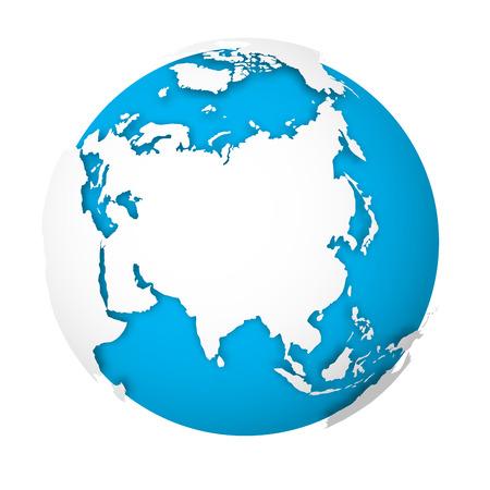 Natuurlijke aardbol. 3D-wereldkaart met groene landen die schaduwen werpen op blauwe zeeën en oceanen. Vector illustratie.