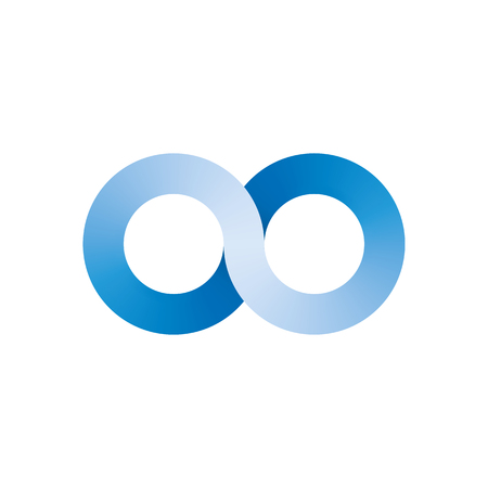 Infinity symbol icon. Representing the concept of infinite, limitless and endless things. Simple blue vector design element on white background. Ilustrace