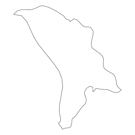 Moldova - solid black outline border map of country area. Simple flat vector illustration.